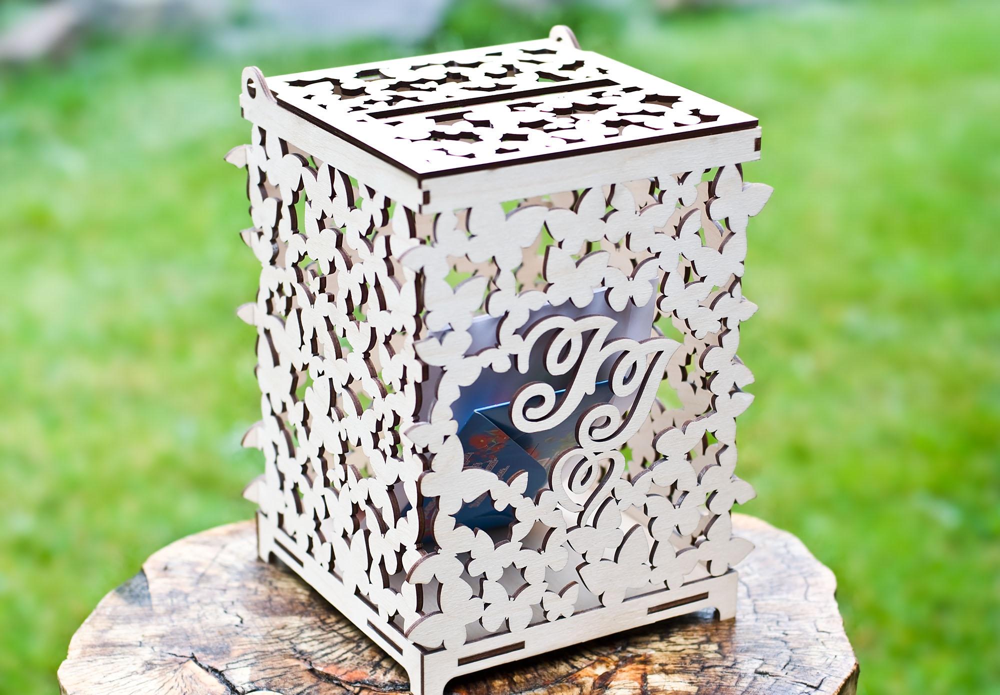 Свадебные коробки для подарков. Лазерная резка фанеры
