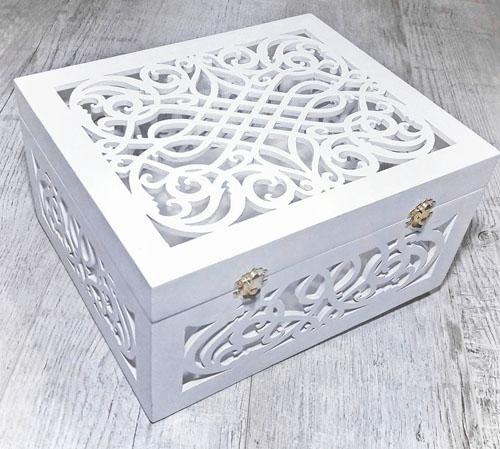 Свадебная коробка для подарков из фанеры. Лазерная резка фанеры