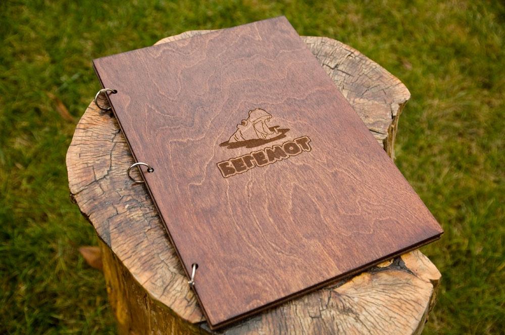 Папки меню из дерева  c логотипом для ресторана и кафе - Бегемот