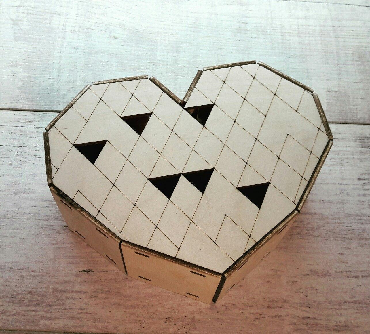Сердце коробка, деревянная коробка в форме сердце