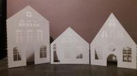 Белые домики-светильники из фанеры