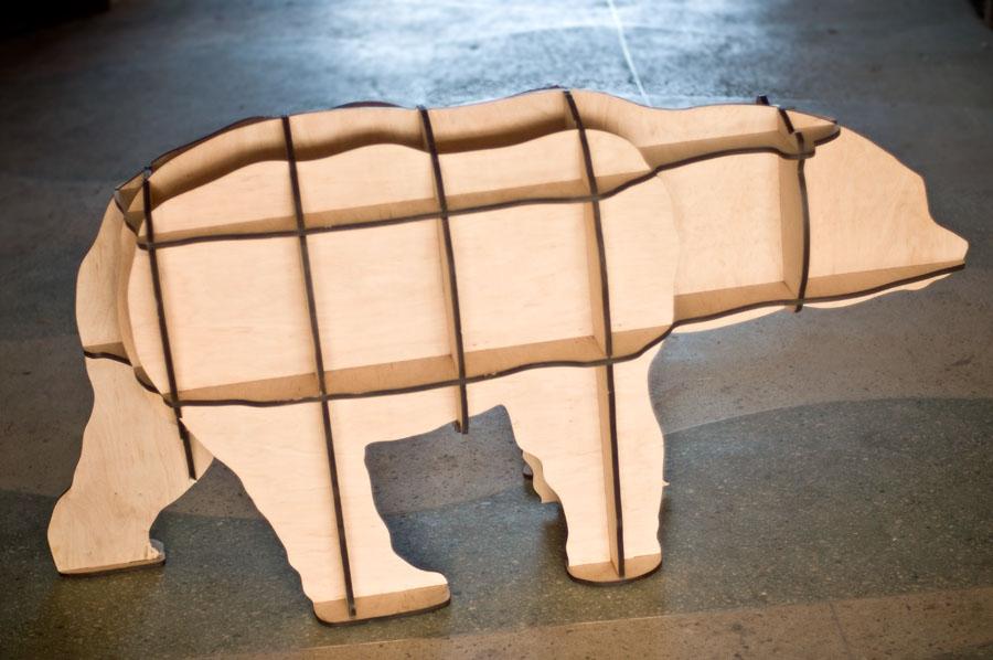 Полка Медведь из фанеры 3D этажерка.  Параметрика. Лазерная резка фанеры