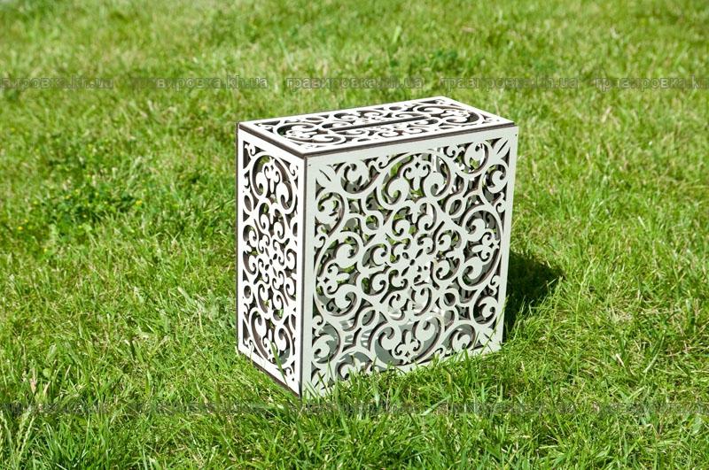 Белая свадебная коробка из дерева. Лазерная резка фанеры и гравировка дерева