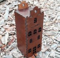 Деревянная коробка для вина в виде дома с лазерной гравировкой