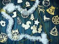 Деревянные новогодние елочные игрушки из фанеры