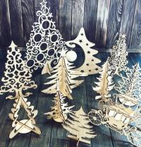 Декоративные ёлки из фанеры. Лазерная резка фанеры в Харькове