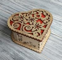 Коробка-шкатулка сердце из фанеры