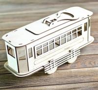 Подарочная деревянная коробка для спиртного Трамвай