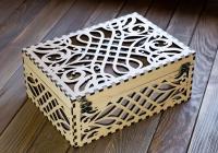 Узорная деревянная коробка 22х32х10см