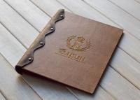 Деревянная папка для меню из дерева и кожи ручной работы
