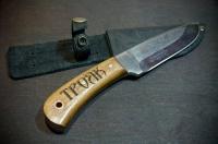 Лазерная гравировка на ножах. Гравировка на рукояти из дерева
