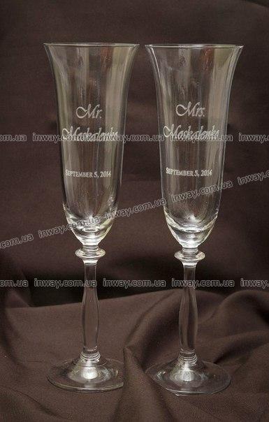 Гравировка на свадебных бокалах, гравировка на стекле