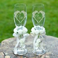 Свадебные бокалы с лазерной гравировкой на свадьбу  в Харькове