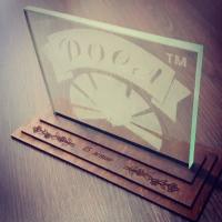 Стекло с логотипом, награды из стекла с гравировкой