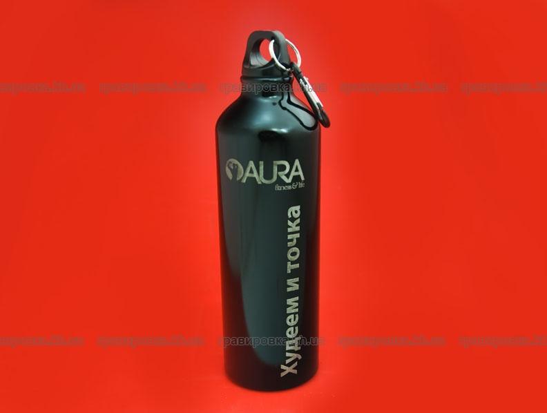 Нанесение логотипа на бутылку лазерной гравировкой