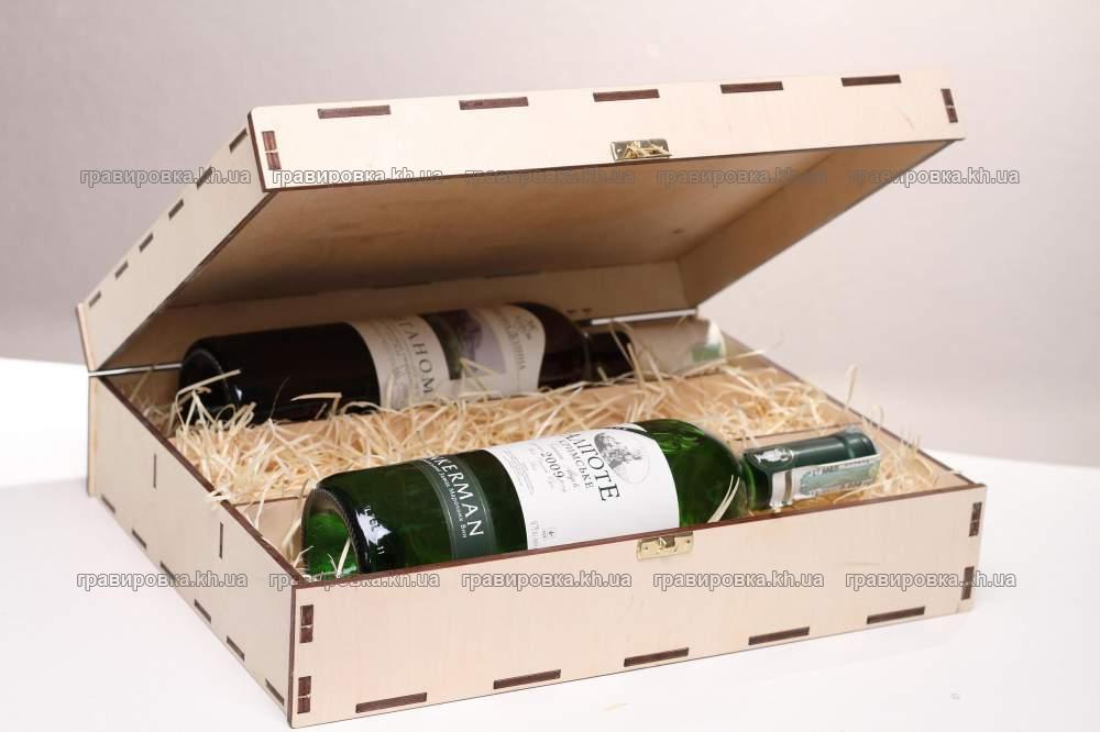 Подарочная коробка из дерева (фанеры) для бутылок