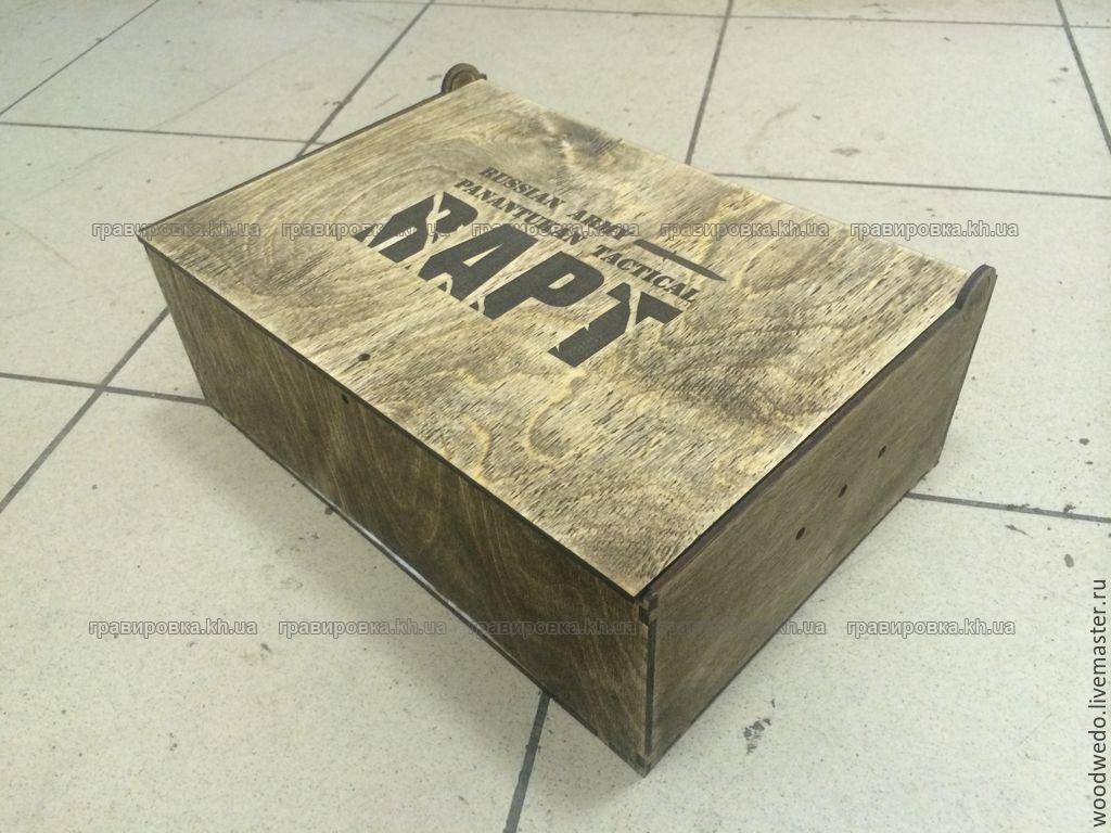 Фирменная упаковка из дерева с нанесением логотипа, с гравировкой