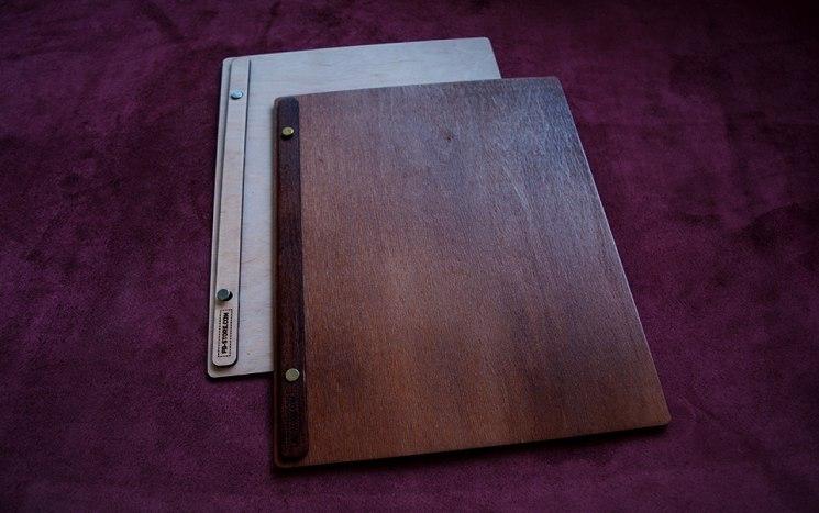 Папки меню из дерева для ресторанов, отелей, кафе